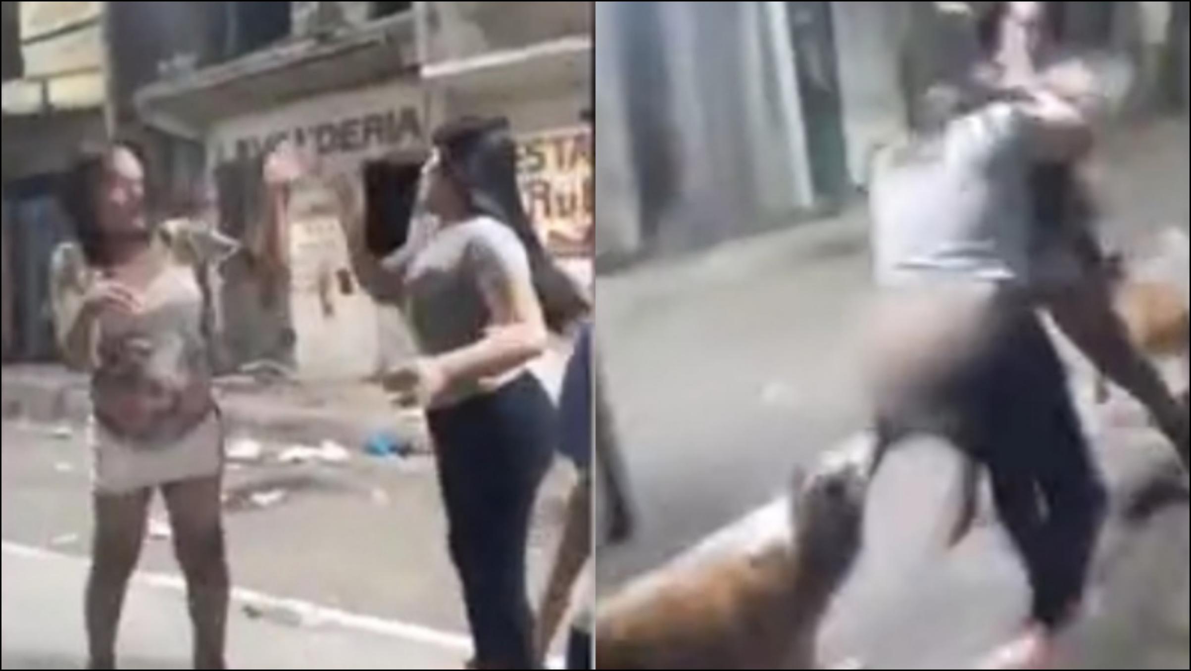 """「萨尔瓦多港」萨尔瓦多两妇女当街打架,流浪狗""""助阵""""扯掉一人裤子,众人笑翻"""