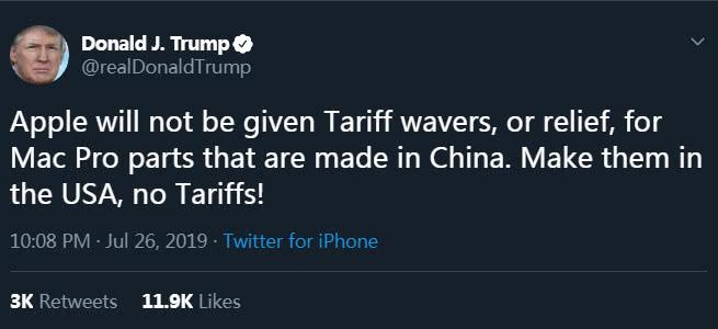 <b>苹果唯一美国本土生产线迁中国,特朗普:不会豁免关税</b>