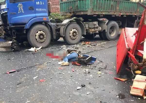 刚发生!桂林一大货车与三轮车相撞现场惨烈,人血肉