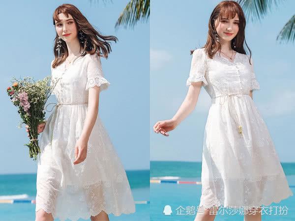 仙气十足的纯白连衣裙上身,谁还不是个美美的小仙女