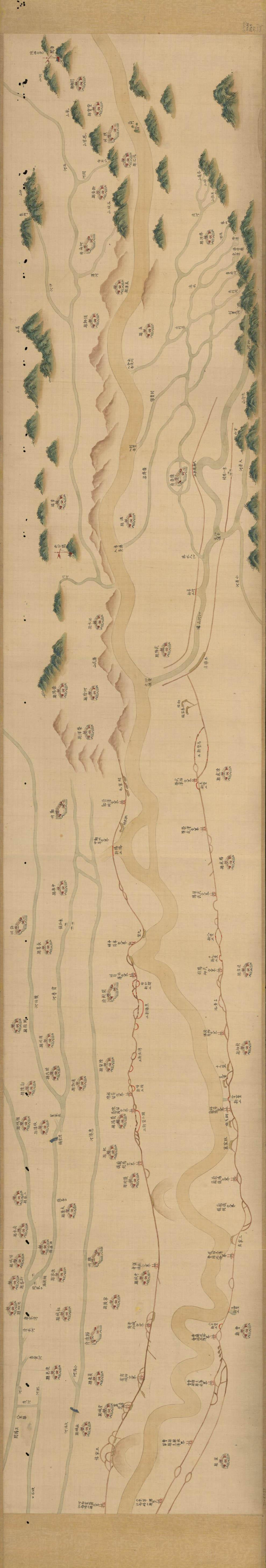 河南界限内黄河流域分布及沿线县城清代乾隆年间《豫省黄河全图》