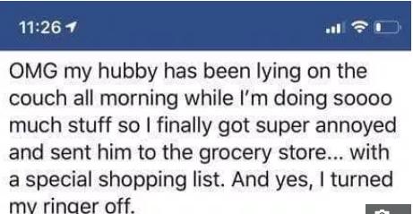 <b>来自妻子的报复,美国一女子分享滑稽的假购物清单,惹6万人点赞</b>