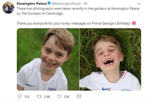 英国乔治王子满6岁啦,他对着镜头咧嘴大笑,真的很暖心