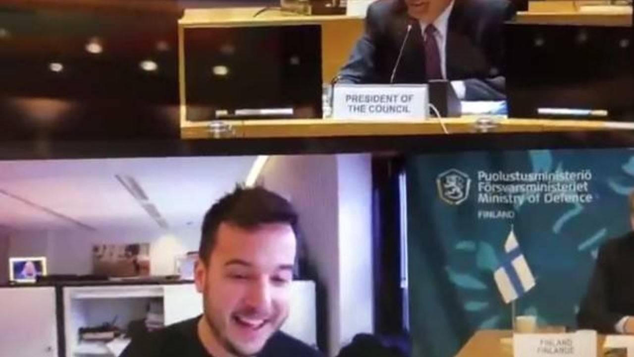「高清视频会议」欧盟防长们正开保密视频会议,突然闯入一名荷兰记者