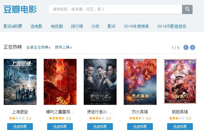 当前热映五部电影,《烈火英雄》只能第二,第一豆瓣高达8.6分