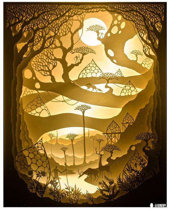 利用立体纸雕艺术,将多层的水彩纸切割成梦幻的