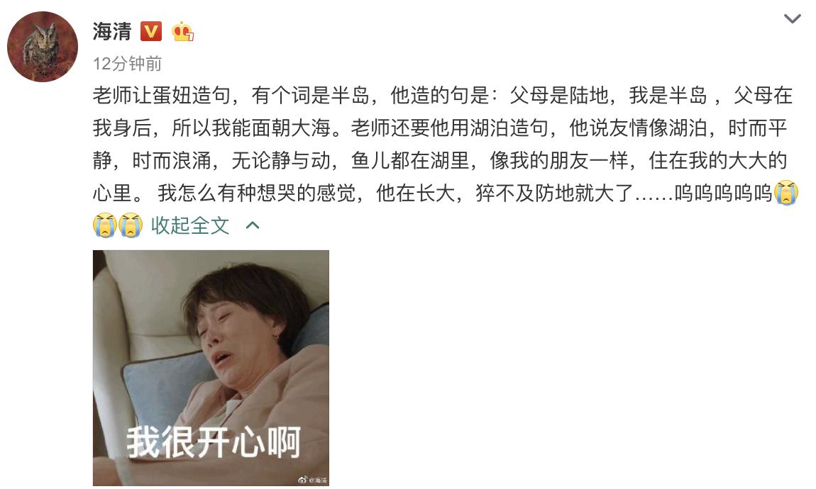 海清12岁儿子蛋妞看词造句,既有文采又有哲理,海清都感动哭了