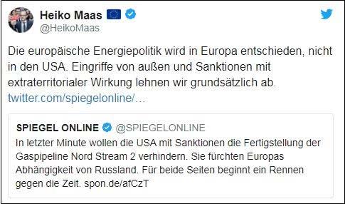 美国威胁制裁欧洲公司,德外长回怼