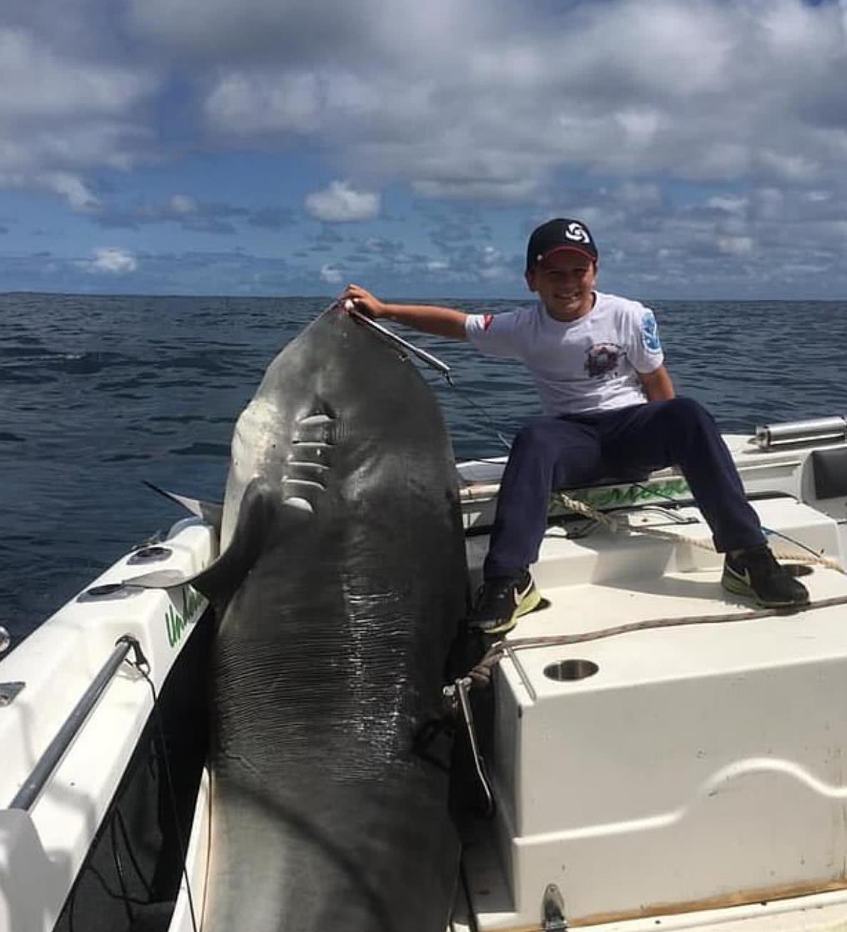 8岁熊孩子钓鱼收获意外惊喜:捕获一条大鲨鱼,重达600多斤