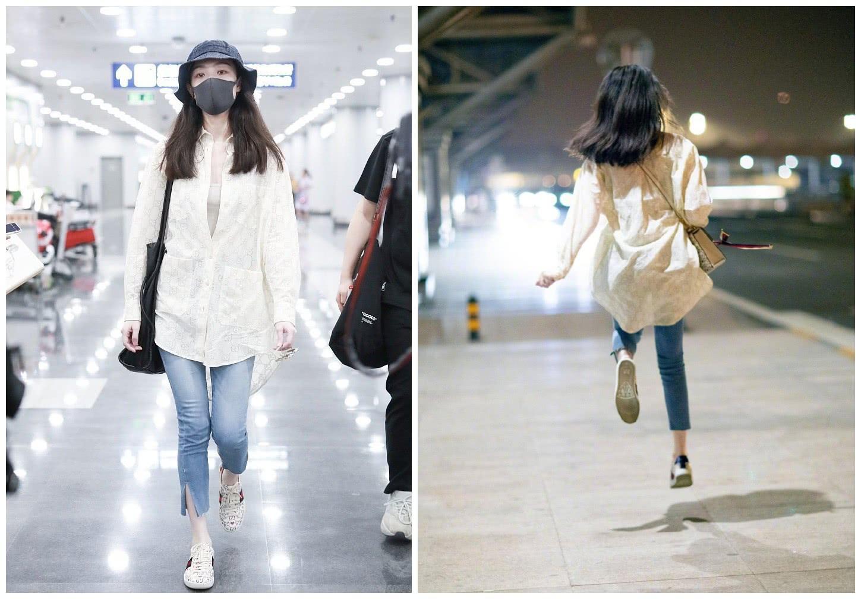 <b>倪妮宽松衬衫+九分裤,轻松随性自带高级感,跳起来更像个小孩</b>
