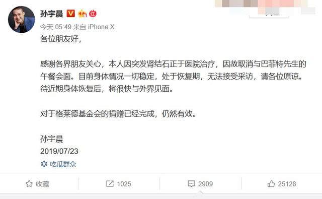 孙宇晨突发肾结石,取消巴菲特午餐!网友:宁可相信是巴菲特病了