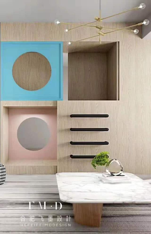 这样的亲子娱乐背景墙才能叫模板!客厅一分为二墙掏洞,一房多用