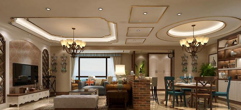 130平美式风格装修客厅设计效果图!