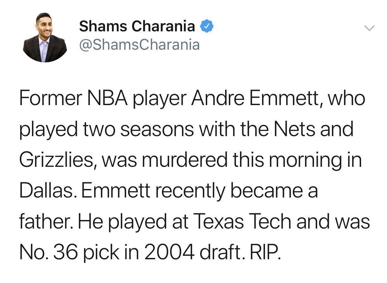 CBA曾单场71分,前NBA球员安德烈埃米特家门口遭枪杀!