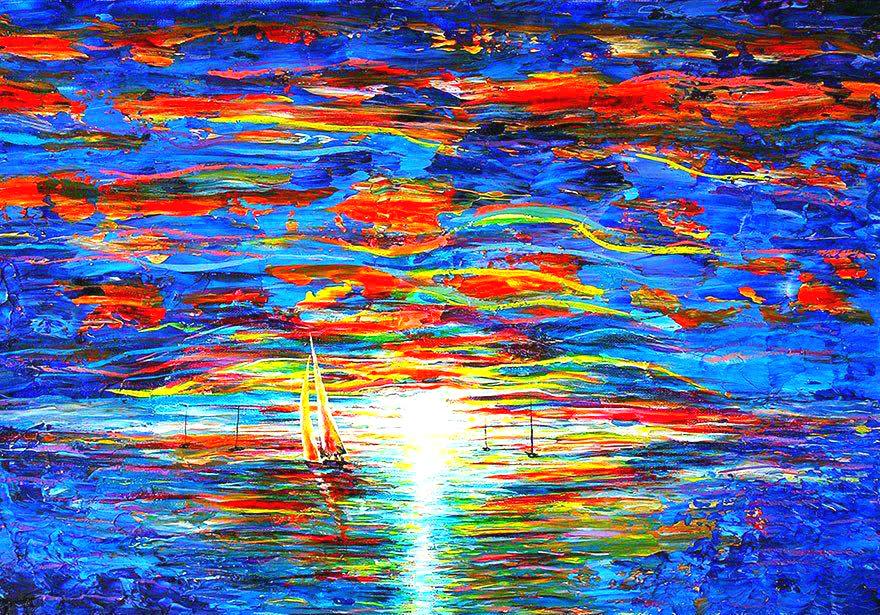 太惊艳了!盲人30岁学画,靠手指区别颜料,画出色彩绚烂大世界