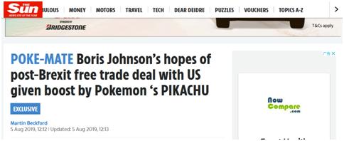 """<b>英首相希望脱欧后与美达成贸易协定,皮卡丘公司也来""""助力""""</b>"""