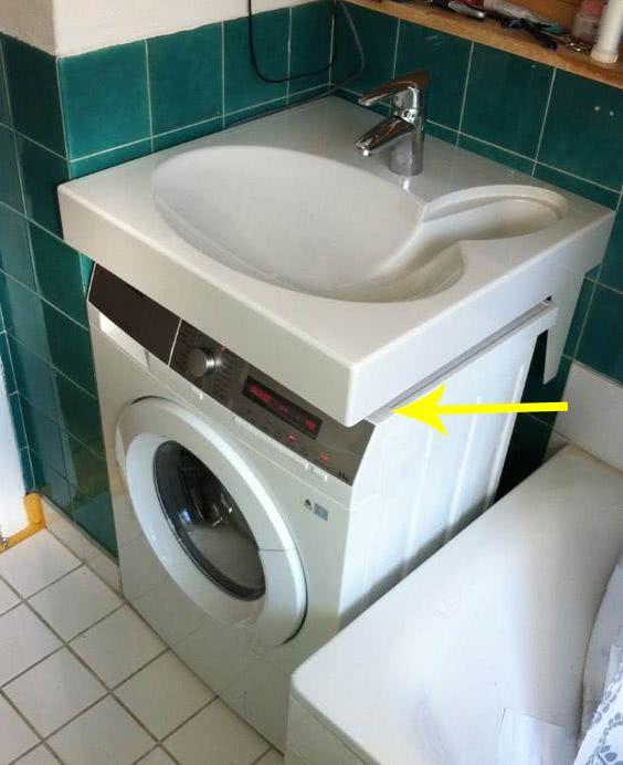 朋友这招实在高!洗手池加宽排水口后移,塞下洗衣机完全不占地儿