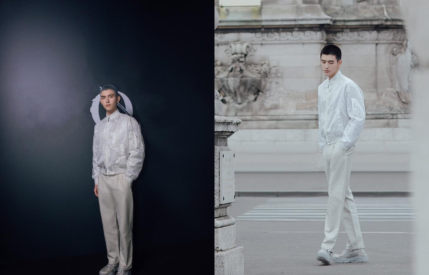 陈飞宇男装周看秀,棒球服配白色西裤未来感十足,银灰寸头超抢镜