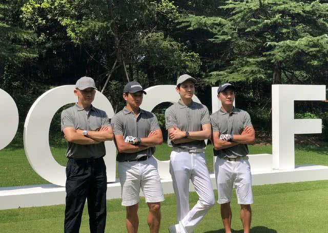 演过清朝皇帝的祖孙三代:钟汉良、吴奇隆、聂远罕见同框打高尔夫