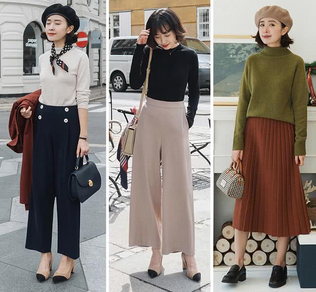 针织衫+阔腿裤,是秋季最潮的搭配,爱美的女人都穿上了!