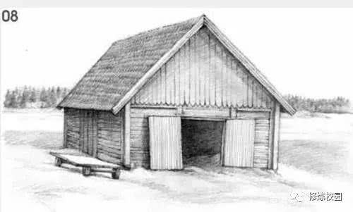 风景素描画教程:教你一步一步画小木屋