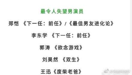 金扫帚奖提名名单出炉,刘昊然陈都灵榜上有名,网友:这也能黑?