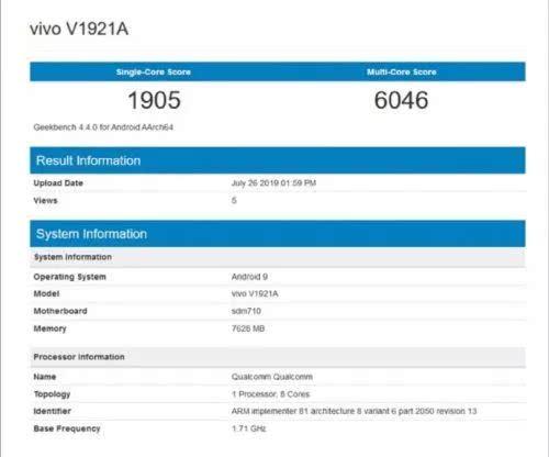 vivoZ5 GeekBench跑分曝光:骁龙712+8GB内存