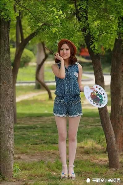 【图片处理】ps给森林中漂亮美女画师照片调色处理教程