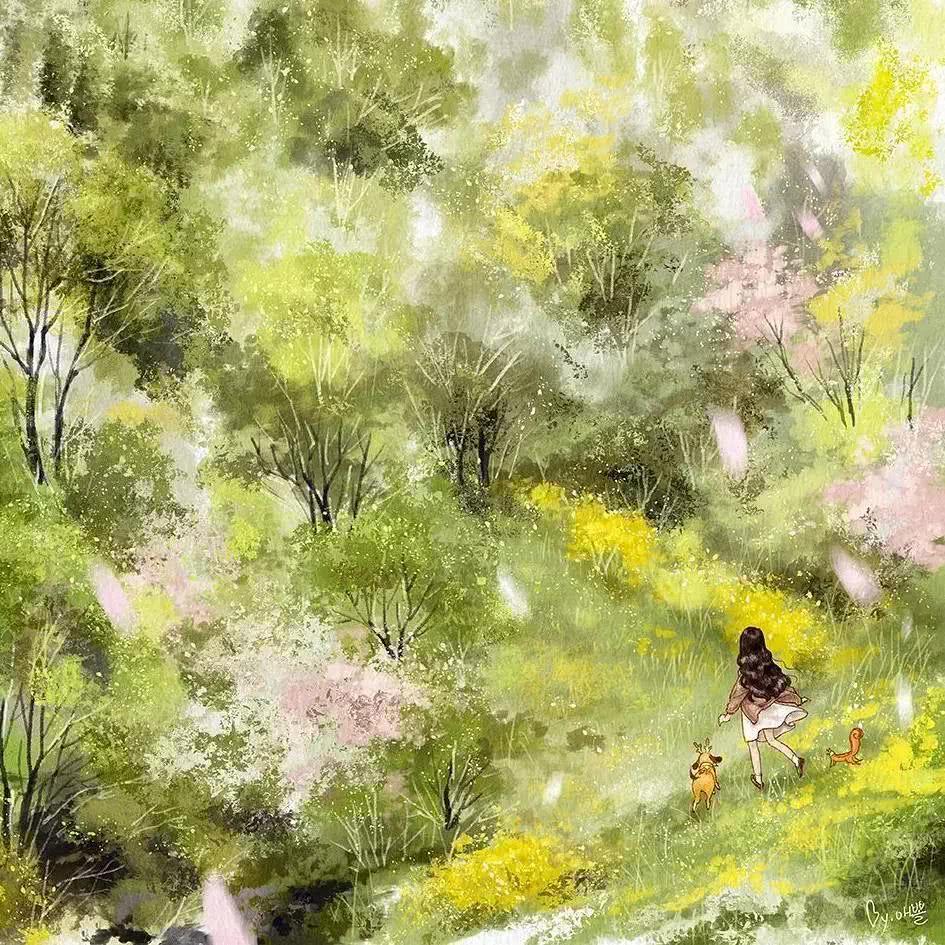 他的画风堪比宫崎骏,画面美如仙境!
