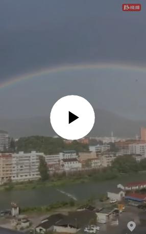 永顺:湘西小山城雨后现双彩虹奇观