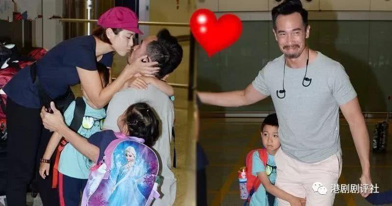前TVB花旦带三子女回港 与视帝老公亲吻很恩爱