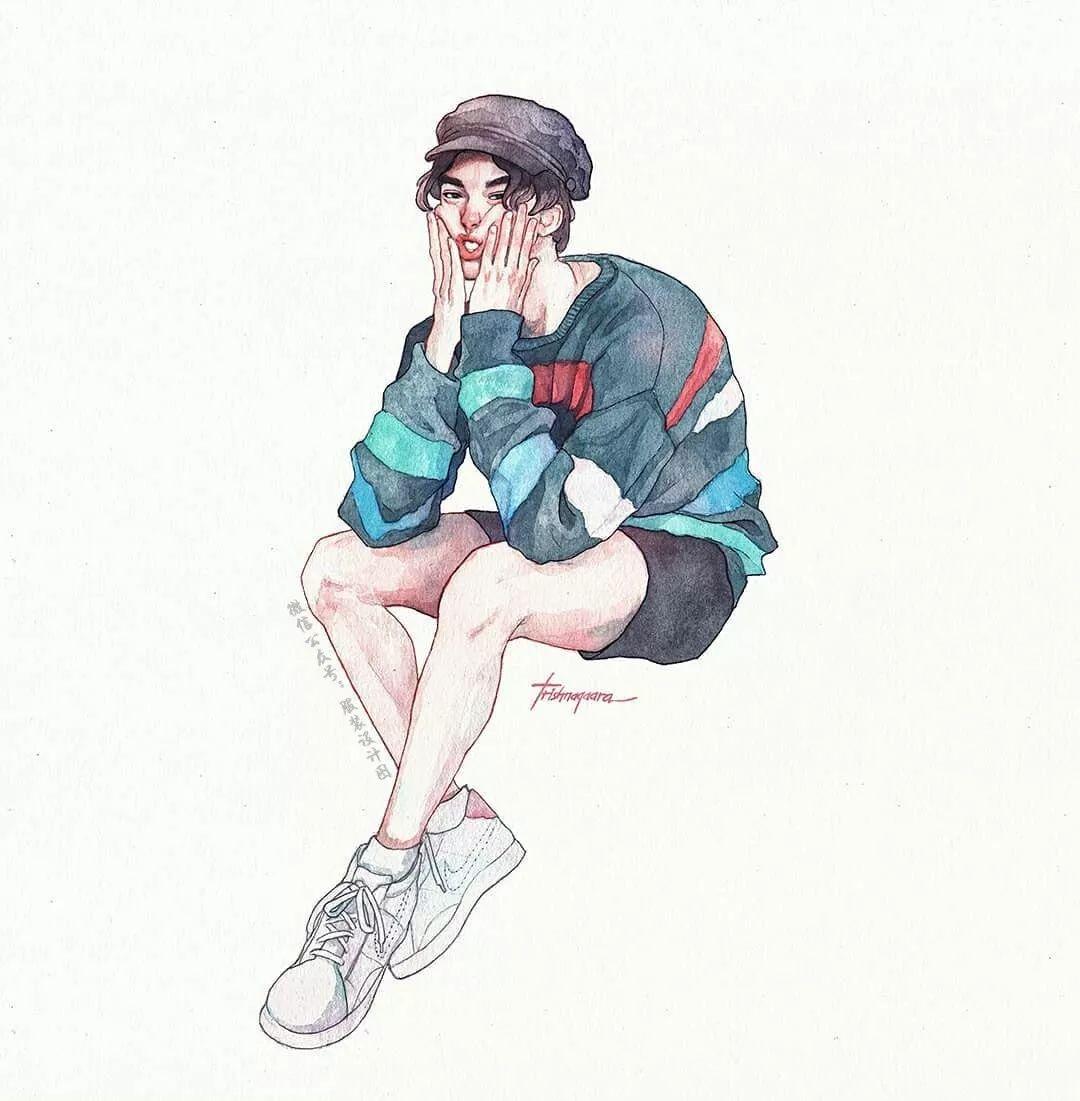 【服装设计图——时装效果图】手绘水彩人物绘画作品欣赏