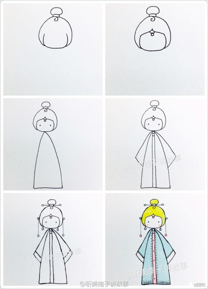 手绘教程——中国娃娃简笔画教程合集_创画吧_新浪博客