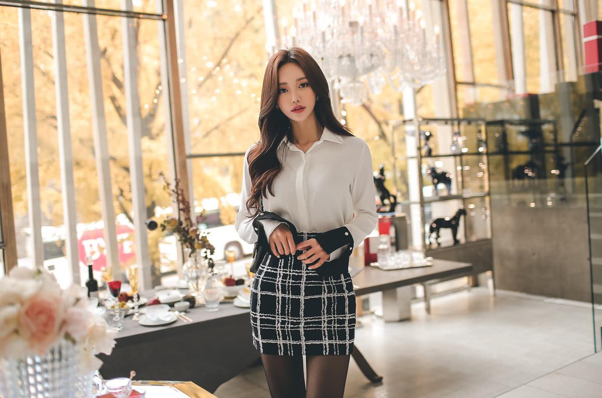 美人美图 孙允珠:都市商务白领高冷御姐白衬衫