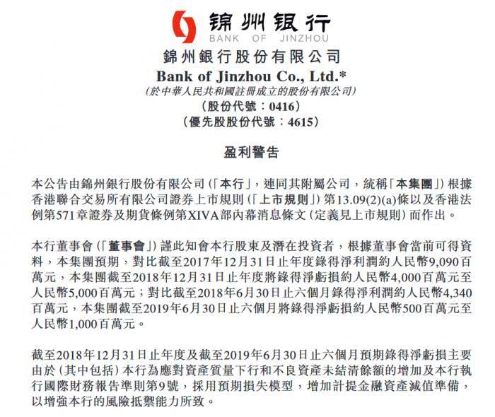 锦州银行:预期去年净亏40-50亿,今年上半年净亏5-10亿