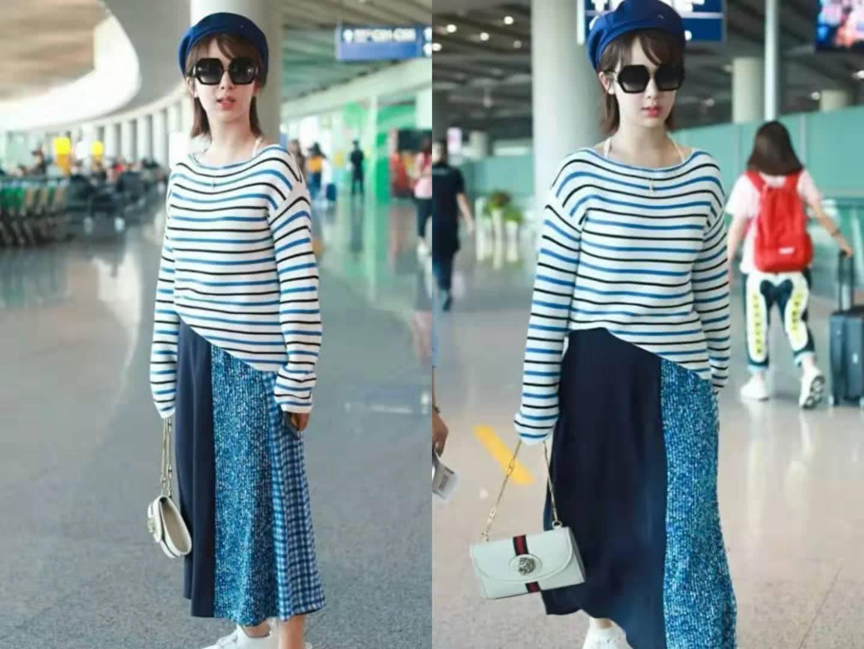 杨紫新创服装首秀,裙子黑河混搭星空,酷酷女孩很带感