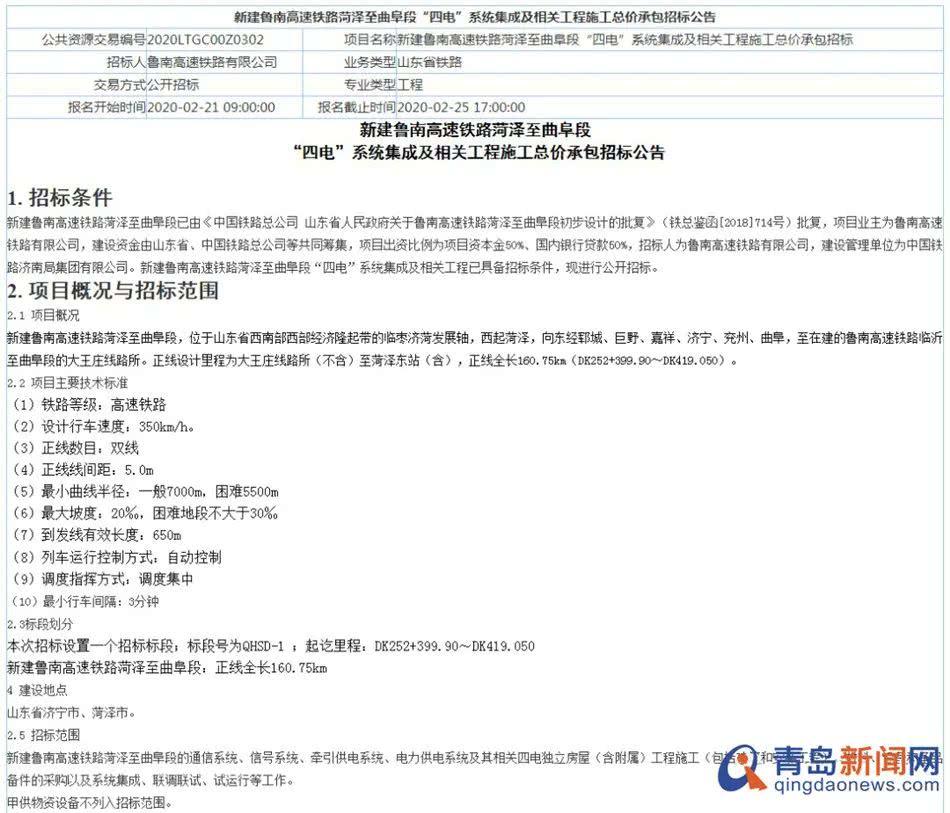 <b>重磅!鲁南高铁山东段明年通车!青岛至菏泽最快3个半小时</b>