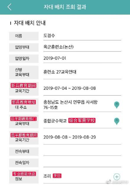 "EXO成员都暻秀入伍后担任""炊事兵"",将从早忙到晚"