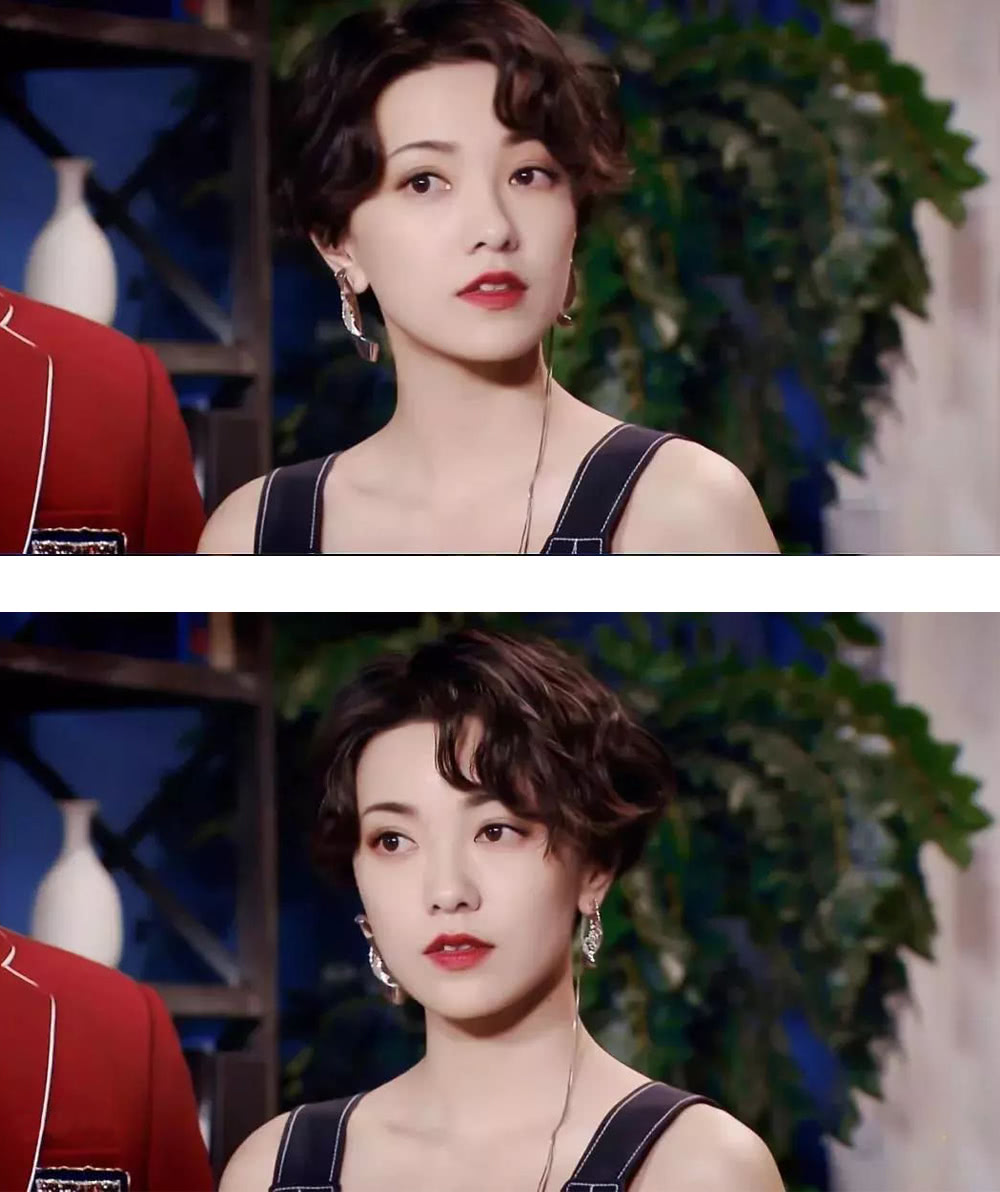 33岁郭采洁薄纱罩衫搭蛇纹裙,造型复古又惊艳,短发红衣真撩人