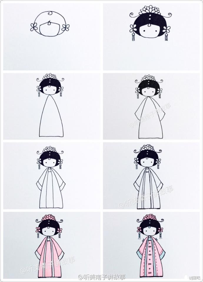 手绘教程——中国娃娃简笔画教程合集