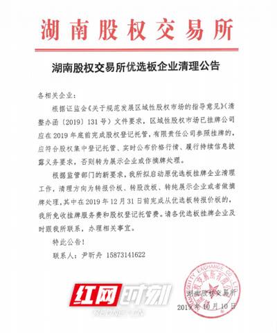 启动优选板清理湖南股交所高质量发展再出新举措