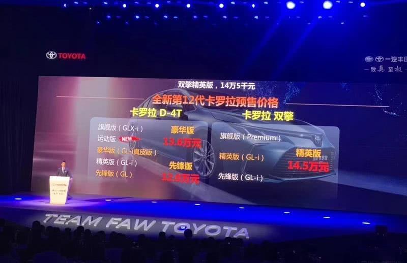 <b>丰田销量常青树,十二代卡罗拉内外大升级,预售12万元起</b>
