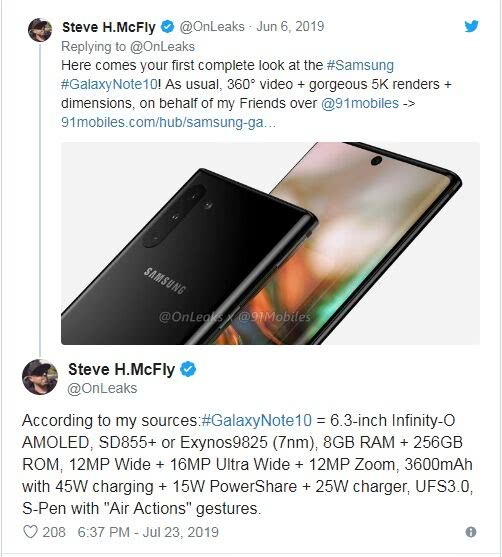 <b>三星Galaxy Note 10/10 Pro配置曝光:搭载高通最新骁龙855 Plus处理器</b>