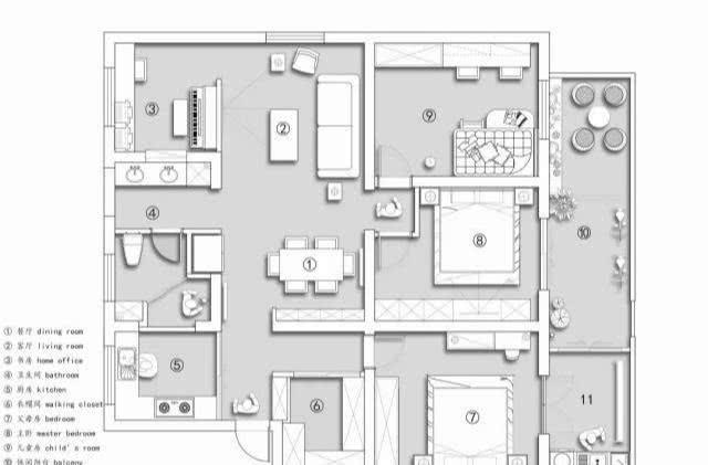 装修客厅到厨房黑框推拉门+文化砖墙,清新的电视墙,柜子也好看