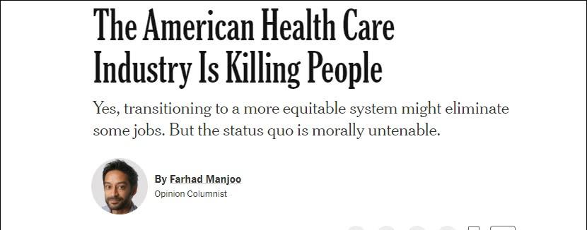 """""""美国医疗体系正在杀人"""""""