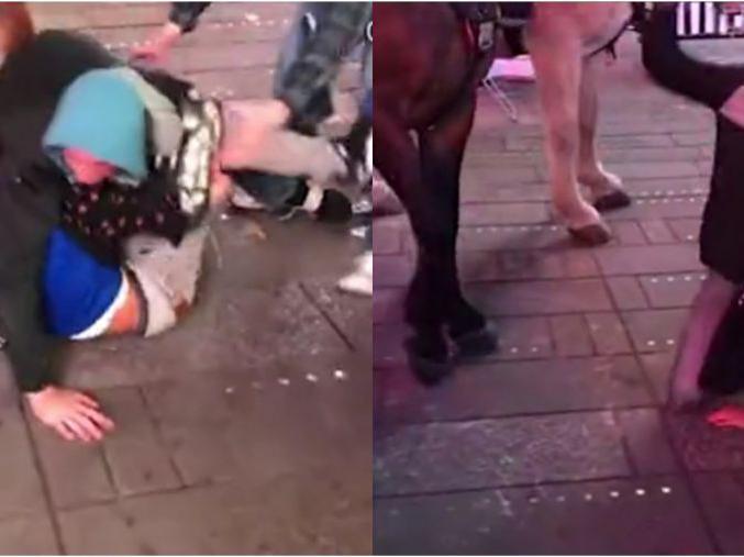 「双方多人斗殴怎么处理」美国多名男子在时代广场斗殴,双方打得满脸是血,警察骑马来制止