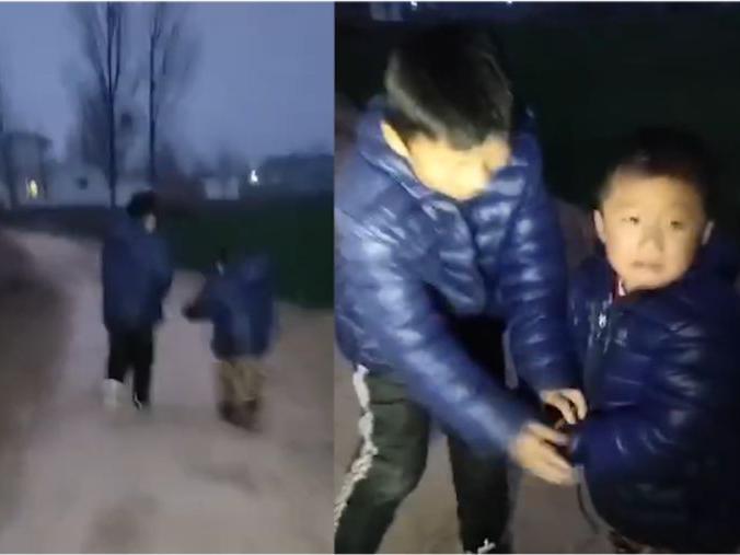 「哥不是坏人」晚上回家以为遇到坏人,8岁哥哥将弟弟用裤腰带绑手上狂奔,怕弟弟被人偷走