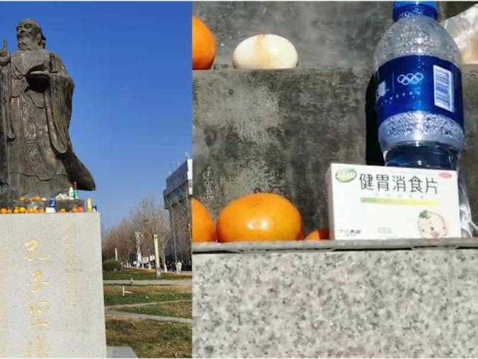 「健胃消食片和吗丁啉区别」高校学生在孔子雕像供奉健胃消食片和水果:怕孔子消化不良,保佑期末不挂科