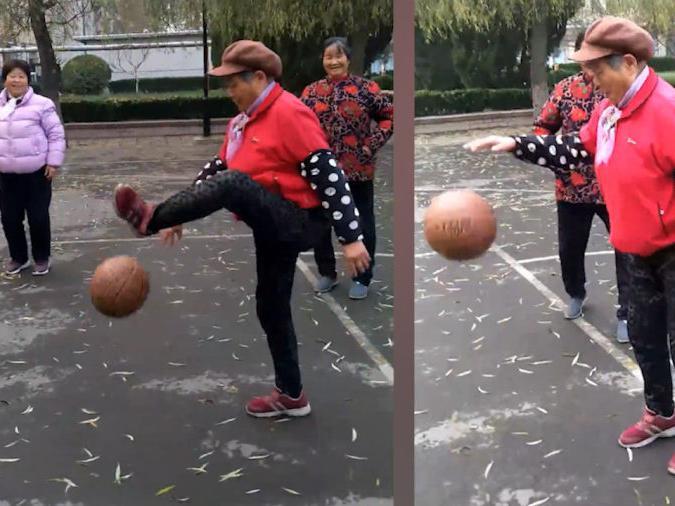 「三大妈」山东一大妈组队打篮球,年龄相加超400岁,网友:运球动作很精彩