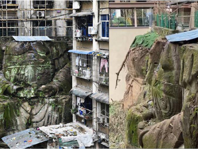「五莲山大佛简介」航拍重庆13米无头巨型石刻大佛,楼体建在半截佛像上,居民:以前是完整的